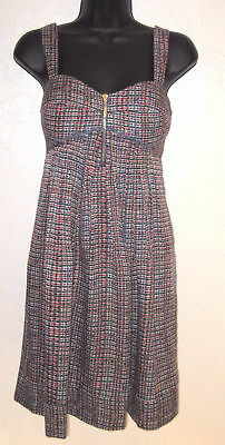 306fd180038 Jessica Simpson Red White Blue Print Sun Dress Adjustable Strap Poly Lined 6