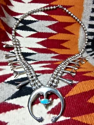 Navajo Turquoise Squash Blossom Sterling Naja Pendant Southwest Tribal Necklace