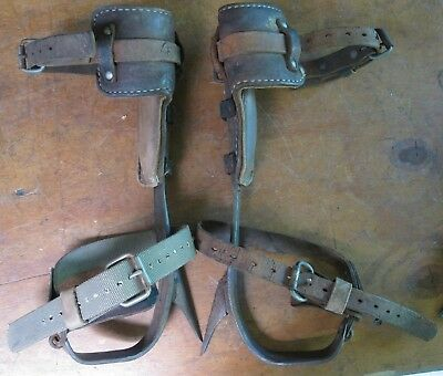 Pair of Lineman's Adjustable Climbing Spikes for Tree or Pole
