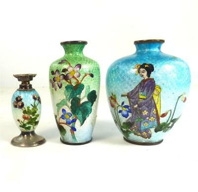 Three Antique Japanese Meiji Ginbari Cloisonne Vases