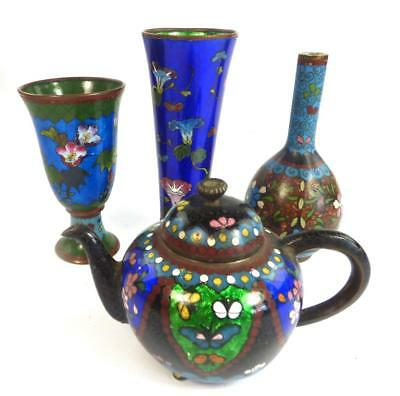 Four Antique Chinese Qing Japanese Cloisonne Teapot Bottle Vase Stem Cup Etc