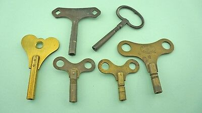 Six Vintage Bronze and Brass Winder Clock Keys