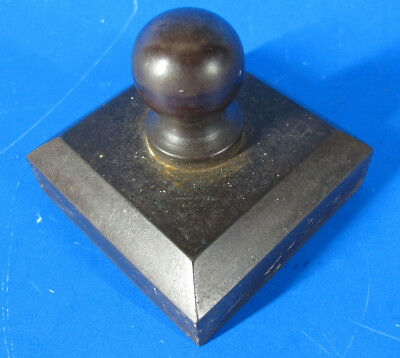 Victorian Bronzed Cast Iron Eastlake Square w/Handle Knob Paperweight Heavy yqz