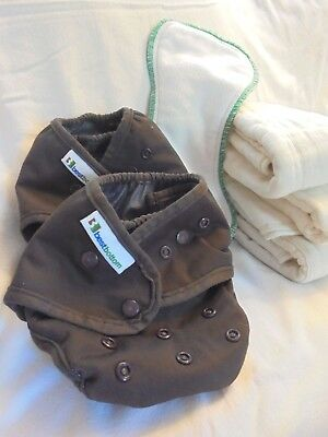 Lot of 2 Best Bottom Brown Covers, 1 Snap-in Insert, Three Hemp Cloth Diapers+