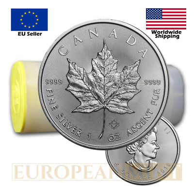25 x 2018 1oz $5 CAD Canadian Silver Maple Leaf (tube)