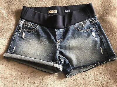 New Look Frayed Denim Maternity Shorts Size 12