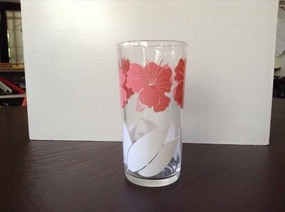 "Vintage Drinking Glass Tumbler Pink White Flower Floral 5 1/2"" tall"