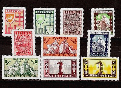 Lithuania; Sc.# 286-295,MI.# 394-403, NEW DEFINITIVE Issue; MLH; 1934-35.
