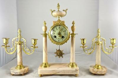 Antique 19th c French Gilt ormolu Bronze & Marble Portico 8 day Mantel Clock Set