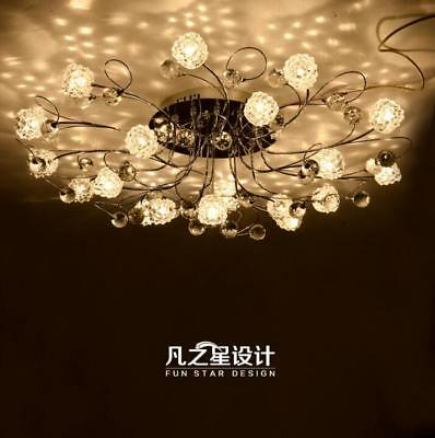 European style LED crtsrak flower pendant lamp living room light gold silver Yc.