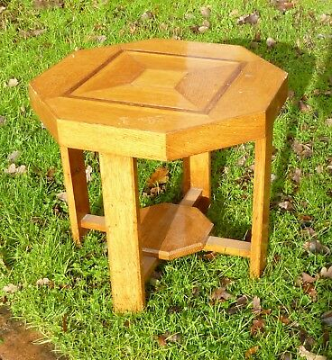 Vintage Retro inlaid octagonal oak occasional table, 1960`s