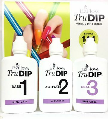 EzFlow TruDIP 3-Step Acrylic Dip- Base-1,Activate- 2, Seal-3 -2oz-Earse-Pick any
