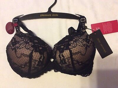 00edc1bf3bda4 PLEASURE STATE MY Fit Lace Push Up Plunge Bra In Black Size 32A -  8.25