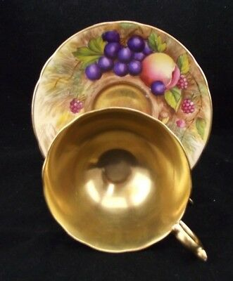 Aynsley Artist Signed  Cabinet Tea Cup And Saucer W Fruit And Gold Signed Brunt