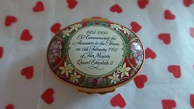 Halcyon Days Enamel Box ~ 'Queen Elizabeth II Accession To The Throne 1952-1992'