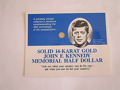 2=1+1:14K SOLID GOLD US$0.5 COIN JFK,KENNEDY 30TH ANNIVERSARY+1 Old Cent Coin US