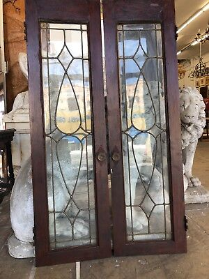 "Arts & Crafts Windows Cabinet Doors 42"" X 12 Leaded Glass Art Nouveau"