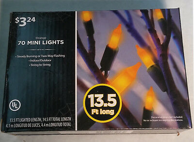 Halloween Orange 70 mini sting lights indoor or outdoor 13.5 feet NIB