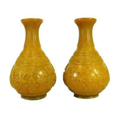 Very Rare And Beautiful Pair Of Yellow Peking Glass Vases With Chinese Design