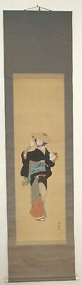 Antique Lady Musician Japanese Hanging Scroll ~ Hand Painted Artist Signed HS007