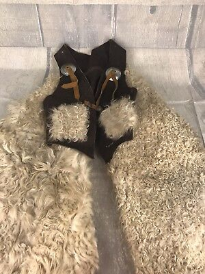 Antique Child's Western Woolly Sheep Chaps and Vest Rodeo Cowboy