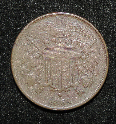 1864 Small Date & Small Letters Two Cent Piece Coin