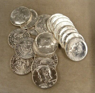 1 Roll 1964 Kennedy Half Dollars / 90% Silver - $10 Face Value / Circulated