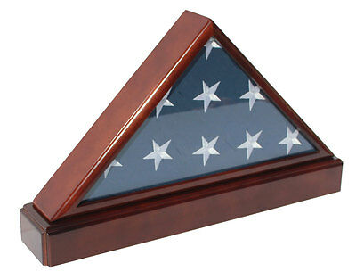 5 'X 9.5' Flag Display Case Flag holder box with Pedestal, FC60P5-MA Solid wood