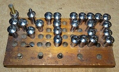 Vintage PEERLESS Watchmaker lathe parts , lot of 24 Collets with #s &2 chucks