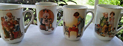 Vintage Norman Rockwell Coffee Cups Mugs Lot of 9 Museum Collection 1981 & 1982