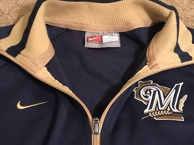 Nike MLB Milwaukee Brewers Boys 8-10 Embroidered Full Zip Up Navy Blue Gold