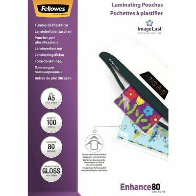Fellowes A5 80 Micron Laminating Pouches Gloss 100 Pack