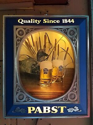 VINTAGE PABST BLUE Ribbon Light Up Beer Sign 3D ducks(Shipping will ...
