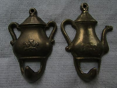 "Two Vintage Small Brass Teapot Towel Hooks Wall Hangers 3.5"" x 2"""