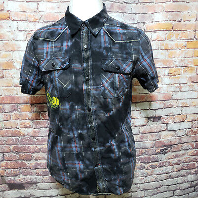 Guess Plaid Western Snap Authentic Vintage Slim Fit Shirt Size Small A45-17