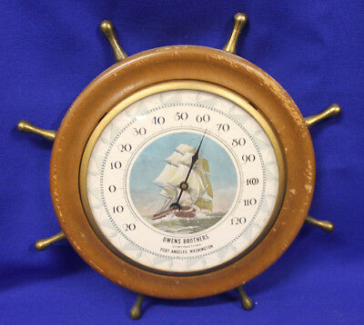 Ship Wheel Thermometer, Port Angeles WA, Owens Brothers Contractors