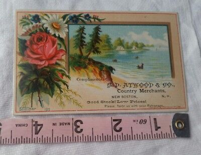 Vintage Advertising Card Retro Early Collectable S D Atwood & Co New Boston