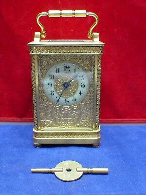 Antique Late 19Th Century Gilt Brass Carriage Clock