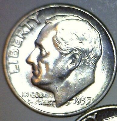 1955s CH BU Roosevelt Dime Silver Coin Low Mintage S.F. Mint LOT #PQ  NO RESERVE