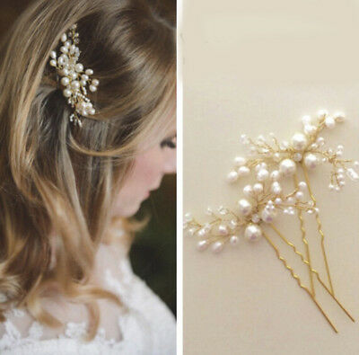 Women White Pearl Flower Hair Clip Hairpin For Wedding Bride Hair Accessories
