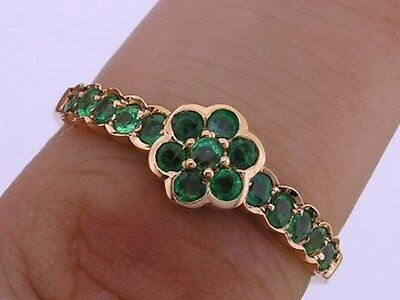 R138 Genuine 9ct 14K 18K Yellow / Rose or White Gold Natural Emerald Daisy Ring