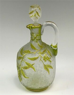 Antique French Acid Etched Cameo Glass Cruet w/ Cameo Stopper Lime Green Flowers