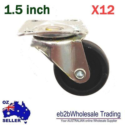 "12 pcs 1.5"" Swivel Caster Castor Wheels 38mm Castors Plate type"
