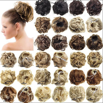Hair Extensions Wavy Curly Synthetic Hair Bun Wig Hairpiece Clip in Scrunchie;