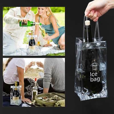 Durable Clear Transparent PVC Champagne Wine Ice Bag Pouch Cooler Bag & Handle