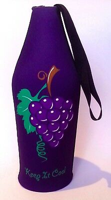 Wine Bottle Cooler Bag - Deep purple with grapes image. BRAND NEW