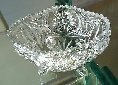 Dainty Footed Posy Or Bonbon Boat - Clear Glass *