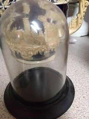 Glass Dome and Wooden Base for Display (or anniversary clock)Vintage Grand