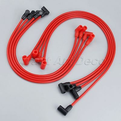 8Pcs Red Spark Plug Wires Set For CHEVY 265-305-327-350-400Over Valve Covers