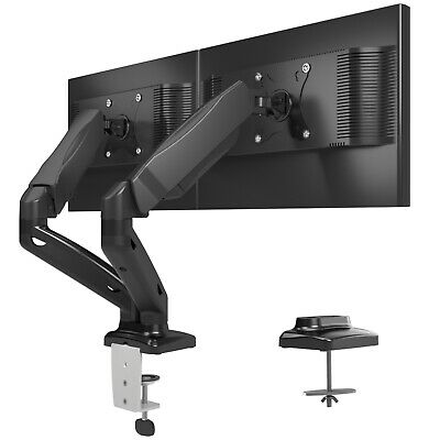 "Full Motion Gas Spring Dual Twin Arms Desk Mount Stand for 13""-27"" LCD monitors"